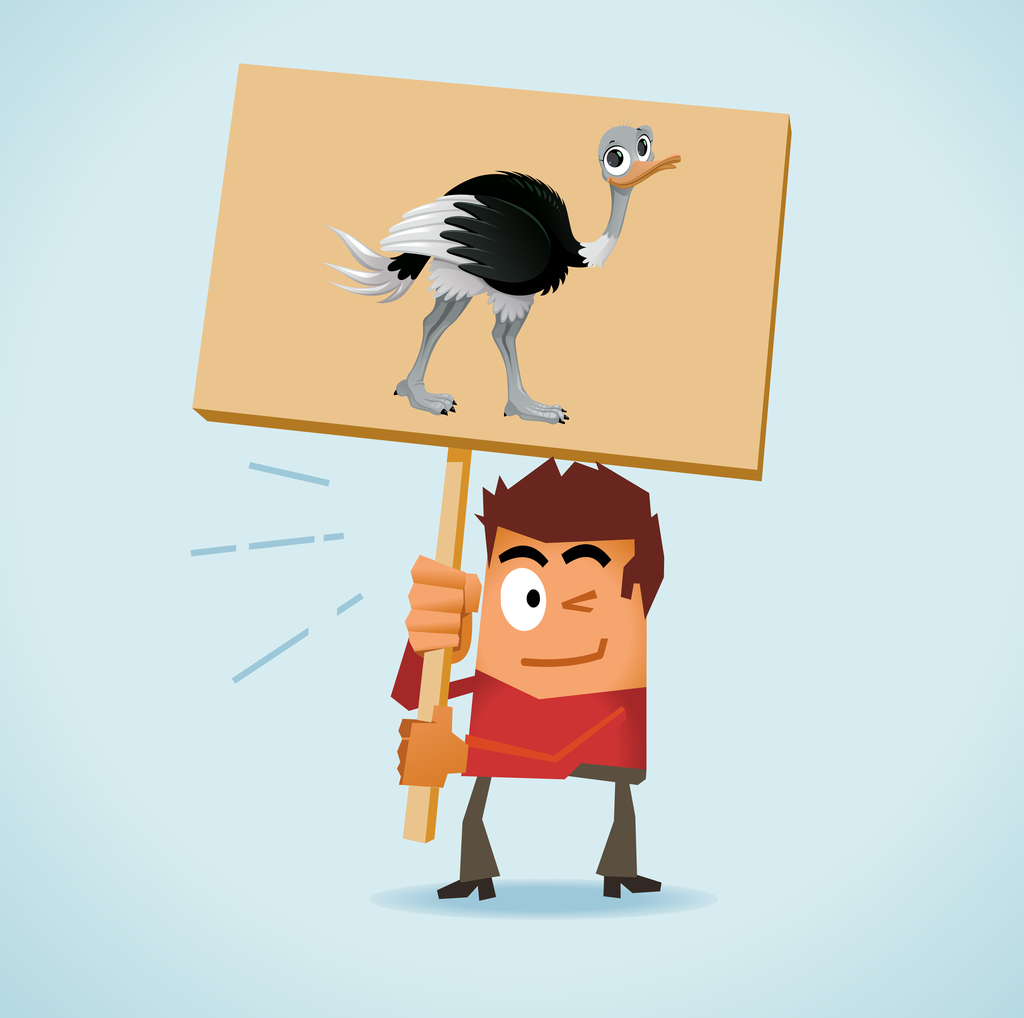 ostrich and man